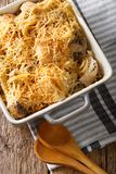 Tetrazzini is an American dish. Spaghetti with chicken, mushroom. S and fresh grated parmesan cheese macro. Vertical top view from above Stock Photos