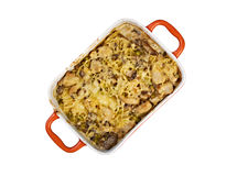 Tetrazzini is an American dish. Spaghetti with chicken, mushrooms and fresh grated parmesan cheese. baked noodle casserole. Isolated Stock Photos