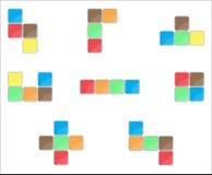 Tetris element set color design Royalty Free Stock Photos