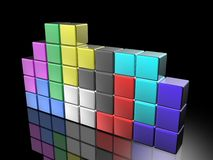 Tetris game. Tetris isolated in black background Stock Photos
