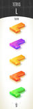 Tetris L-form shiny 3D-part on white background set. In different colors Stock Photo