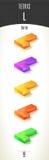 Tetris L-form skinande 3D-part på den vita bakgrundsuppsättningen Arkivfoto