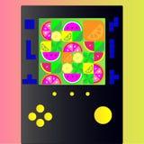Tetris lek som spelar med ljusa frukter stock illustrationer