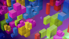 Tetris pieces falling down. 3d rendering of Tetris pieces falling down on a purple backdrop. The logical thinking concept Stock Photos