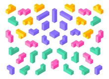 Tetris shapes. Isometric 3D puzzle game elements colorful cube abstract blocks. Vector isometric tetris design objects vector illustration