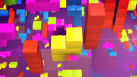 Tetris toy 3d blocks. 3d rendering of the concept of logical thinking. Geometric shapes on a violet background. Tetris toy 3d blocks Stock Photos