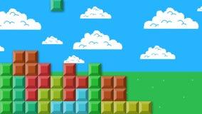 Tetris-Videospiel auf gebissener Art des Himmel-und Wolken-Hintergrund-8 lizenzfreie abbildung