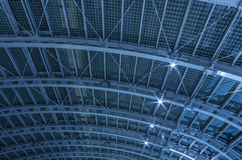 Tetruss frame. Iron roof of railway station Stock Photography