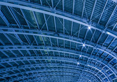 Tetruss frame. Iron roof of railway station Royalty Free Stock Images