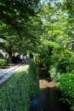 Tetsugaku-ingen-michi filosof` s går av ny grönska, Kyoto, Japan royaltyfria bilder