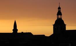 Tetti al tramonto Fotografie Stock Libere da Diritti