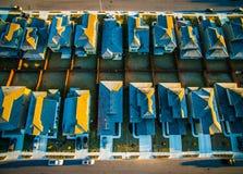 Tetti congelati Surburbia aereo sopra la Comunità Austin Texas della vicinanza delle Camere immagini stock libere da diritti