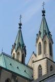 Tetti della chiesa, Kromeriz, ceco Fotografie Stock