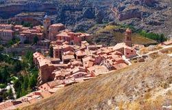 Tetti della città spagnola Albarracin, l'Aragona Fotografia Stock Libera da Diritti
