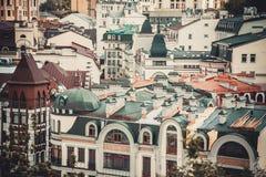 Tetti delle case, le vie di Kiev Fotografie Stock Libere da Diritti