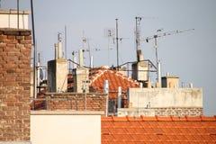 Tetti delle costruzioni di appartamento Immagine Stock Libera da Diritti