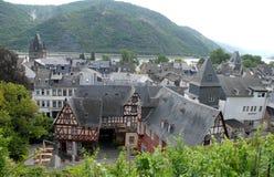 Tetti di Bacharach delle case lungo la valle del Reno in Germania Immagine Stock Libera da Diritti