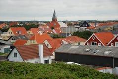 Tetti di mattonelle rosse della città europea Fotografia Stock Libera da Diritti