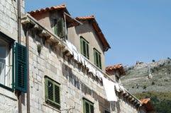Tetti di mattonelle in vecchia città di Ragusa La Croazia Fotografia Stock