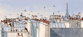 Tetti di Parigi - della Francia illustrazione di stock