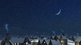 Tetti di Snowy con i camini di fumo alla notte di inverno Immagini Stock Libere da Diritti