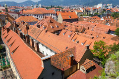 Tetti di terracotta a Graz Austria Fotografie Stock