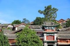 Tetti di vecchia città del lijiang, yunnan, porcellana Fotografie Stock Libere da Diritti