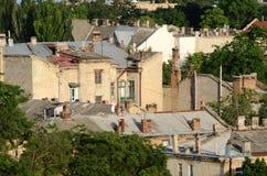 Tetti di vecchia città di Odessa, città europea famosa in Europa Orientale Fotografie Stock Libere da Diritti