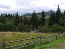 Tetti rossi del villaggio carpatico sulla banca del fiume con gli abeti sui precedenti delle montagne Fotografie Stock Libere da Diritti