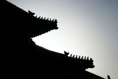 Tetto che scolpisce, viaggio della Città proibita di Pechino Cina Immagine Stock Libera da Diritti