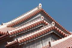 Tetto classico di Japanase al castello di Shuri Immagini Stock