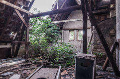 tetto crollato della casa Immagine Stock Libera da Diritti