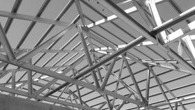 Tetto d'acciaio in bianco e nero Fotografia Stock Libera da Diritti