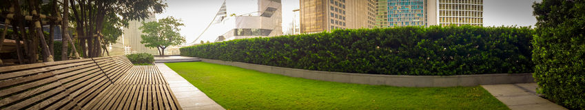 Tetto del giardino di panorama nel luogo di lavoro nella città di Bangkok Immagine Stock