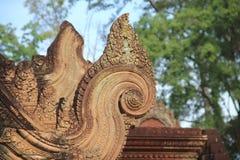 Tetto del tempio di Banteay Srei Fotografie Stock Libere da Diritti