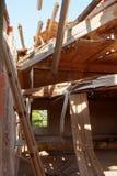 Tetto di legno crollato Fotografia Stock