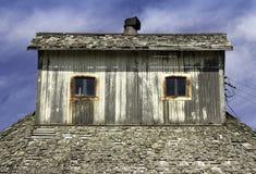 Tetto di legno della soffitta Fotografie Stock
