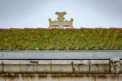 Tetto di mattonelle coperto di erba e di incrocio vago Fotografia Stock