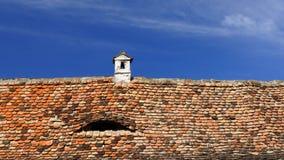 Tetto di mattonelle nel villaggio di Saxon della Transilvania, Romania Immagine Stock