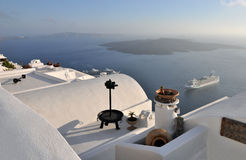 Tetto di Santorini Fotografia Stock Libera da Diritti