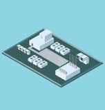 Tetto isometrico piano di vettore 3d con i condizionatori illustrazione di stock