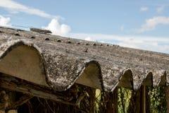 Tetto ondulato ammuffito sporco del primo piano della gabbia di pollo asiatica abbandonata con Rusty Wire Fence - cielo luminoso  fotografie stock