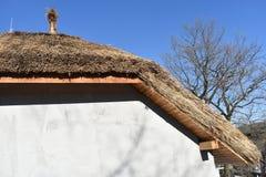 Tetto ricoperto di paglia africano tradizionale contro un cielo blu fotografie stock libere da diritti