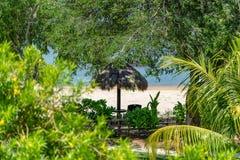 Tetto ricoperto di paglia tradizionale in Benoa, Bali immagini stock libere da diritti