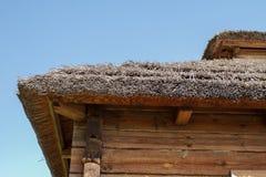 Tetto ricoperto di paglia di una casa bielorussa tradizionale del villaggio fotografia stock