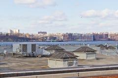Tetto sopra un edificio di Manhattan fotografia stock libera da diritti