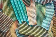 Tetto variopinto dello zinco Fotografia Stock Libera da Diritti