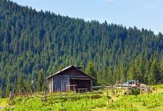 Tettoia dell'azienda agricola della montagna di estate Fotografia Stock Libera da Diritti