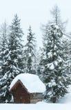 Tettoia della montagna nebbiosa e di legno di inverno Immagini Stock
