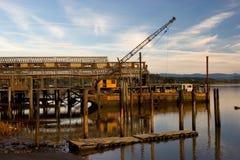Tettoia della rete e gru di galleggiamento Fotografia Stock